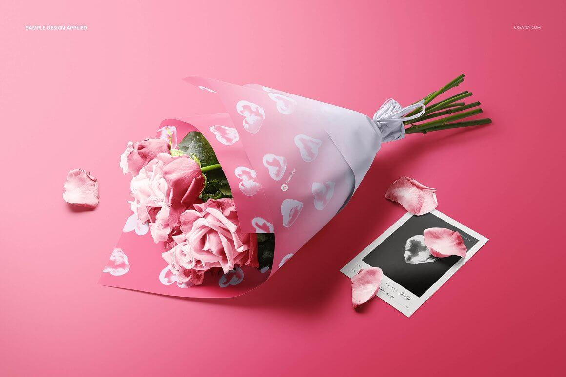 Roses Bouquet Wrapping Paper Mockup (1)