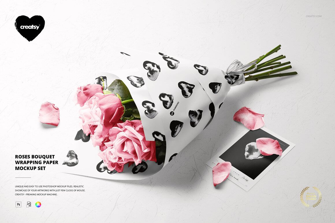 Roses Bouquet Wrapping Paper Mockup