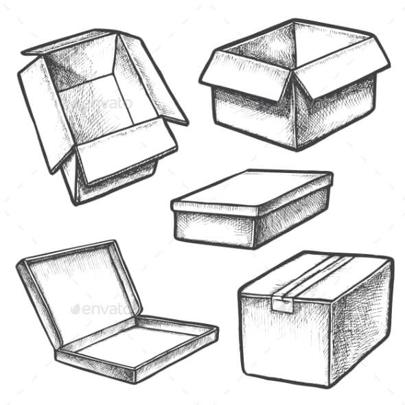Set of Box Sketches or Cargo Containers