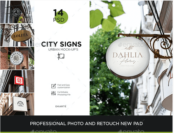 Signs Mock-Up Shopping and Coffee