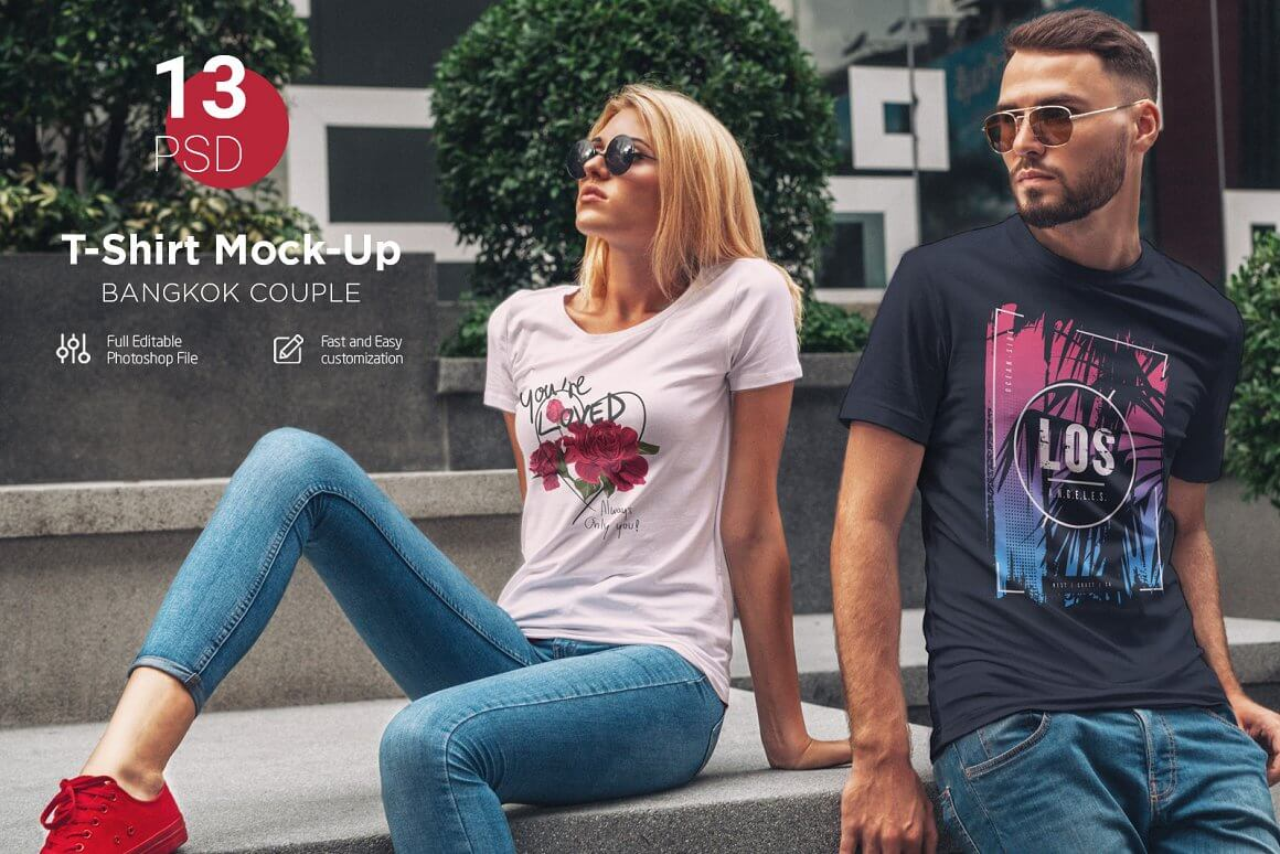 T-Shirt Mock-Up Couple In City