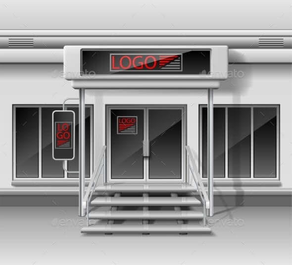 Template for Advertising Store Front Facade