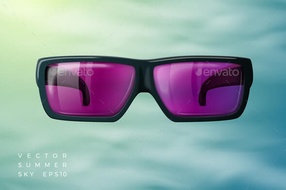 Vector Abstract Background Sunglasses, Summer Sky