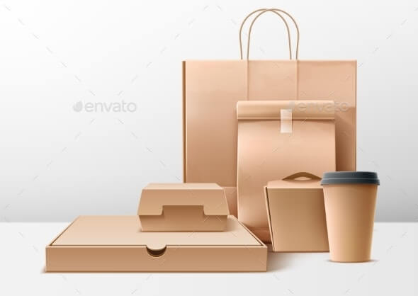 Vector Cardboard Food Boxes Shopping Bags Set