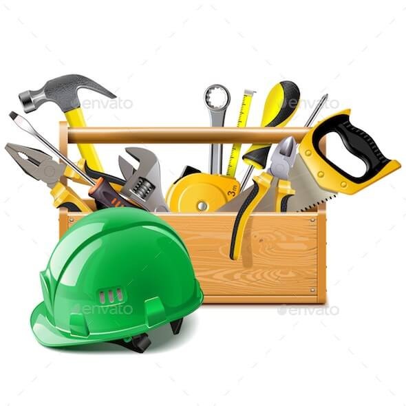 Vector Toolbox with Construction Helmet
