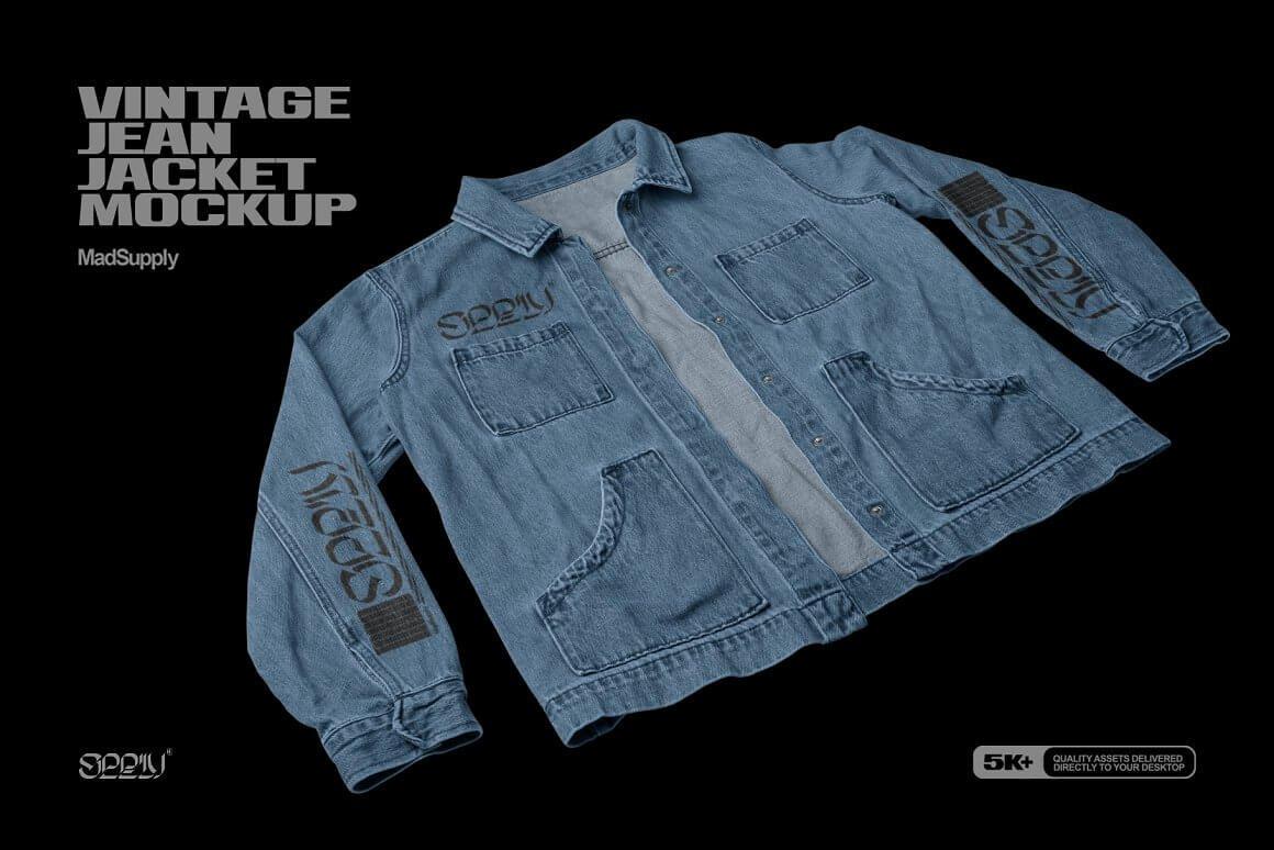Vintage Jean Jacket Mockup 3Q View