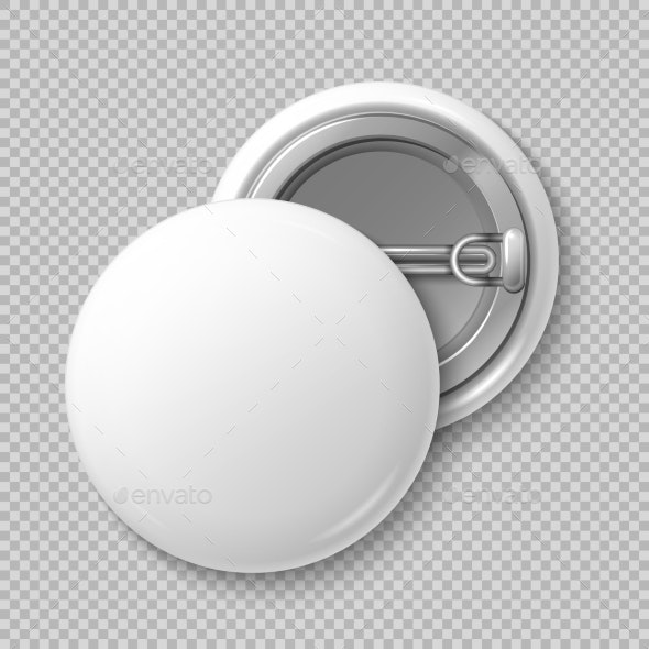 White Blank Badge Round Button Badge Isolated
