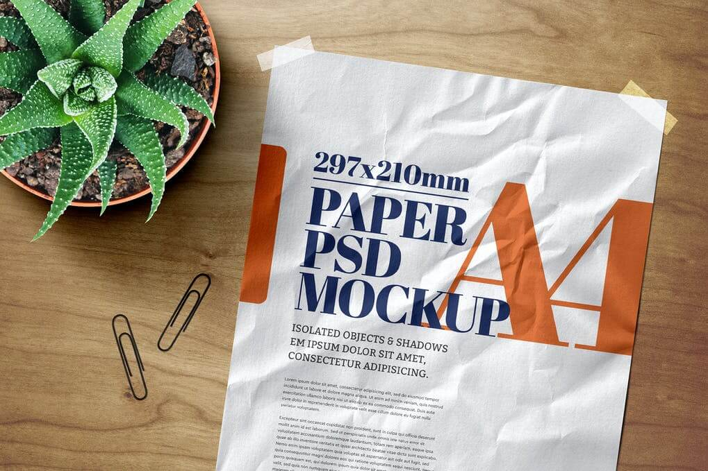 A4 Flyer Mockup Crumpled Adhesive Duct Strip