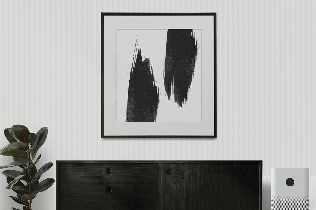Abstract paint frame mockup on white wall