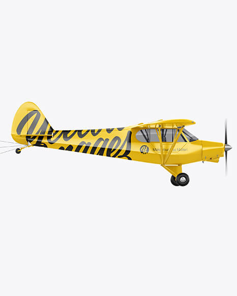 Airplane With Long Banner Mockup - Side View