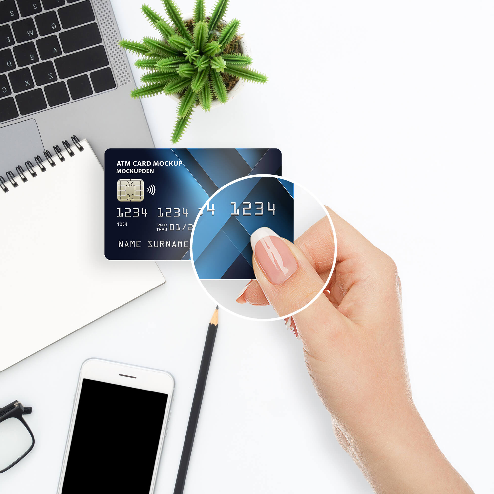 Close Up Of a Free Atm Card Mockup PSD Template