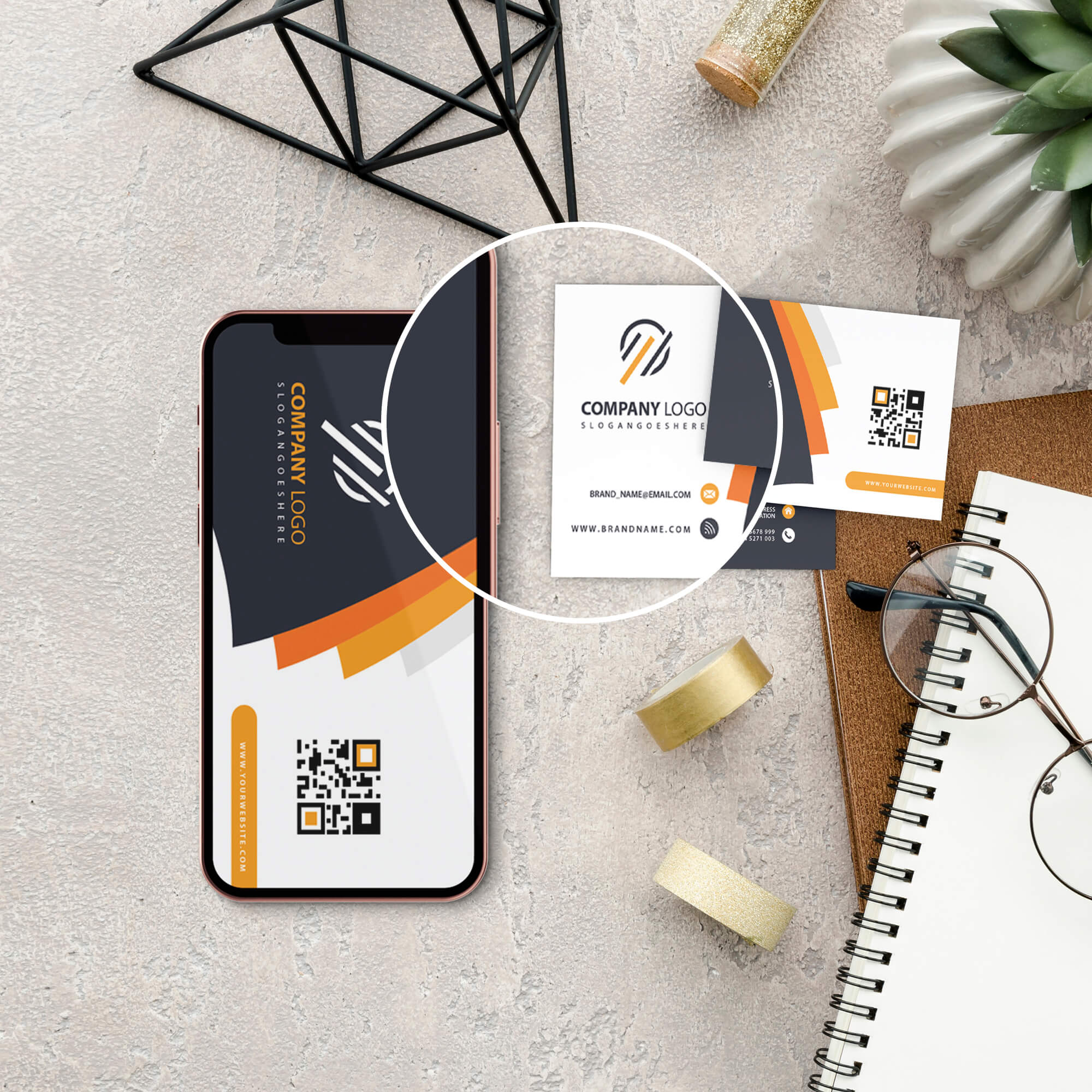 Close Up Of a Free Card And Phone Mockup PSD Template