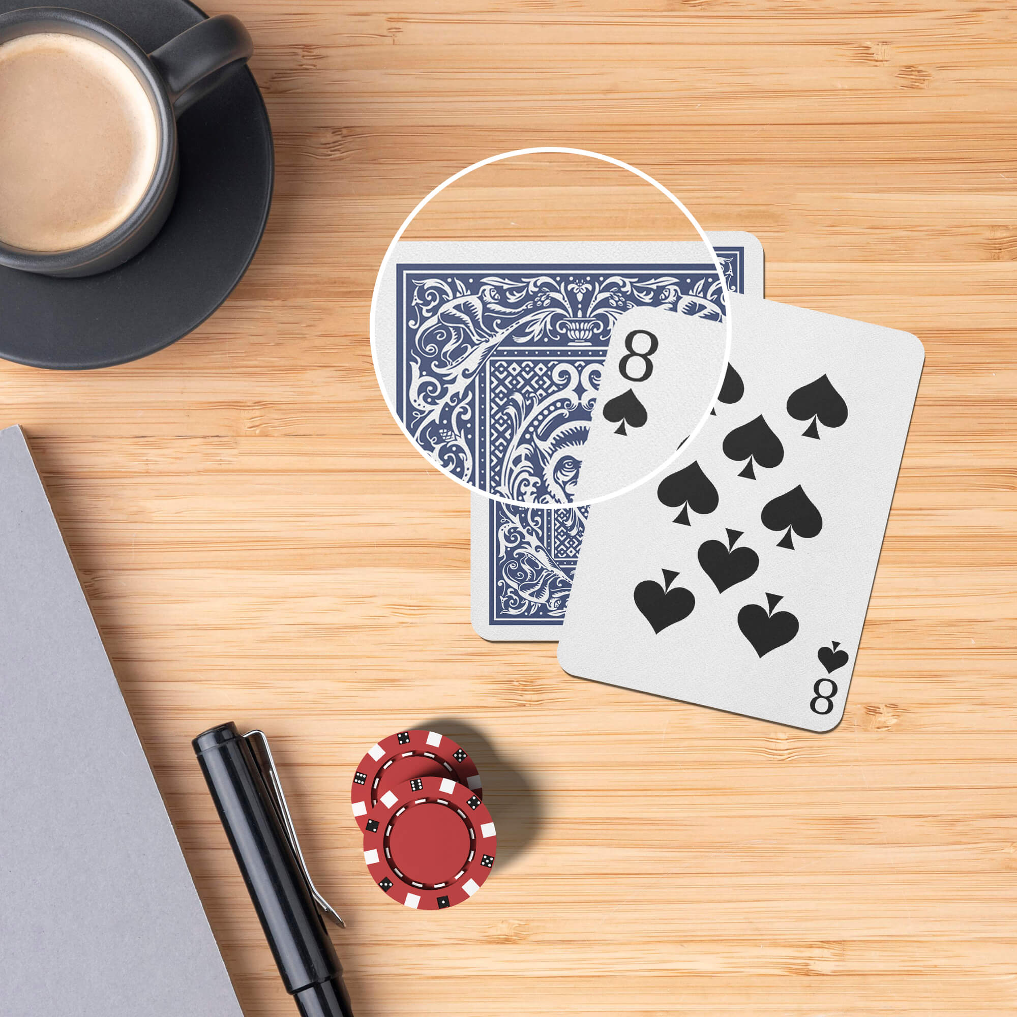 Close Up Of a Free Card Game Mockup PSD Template
