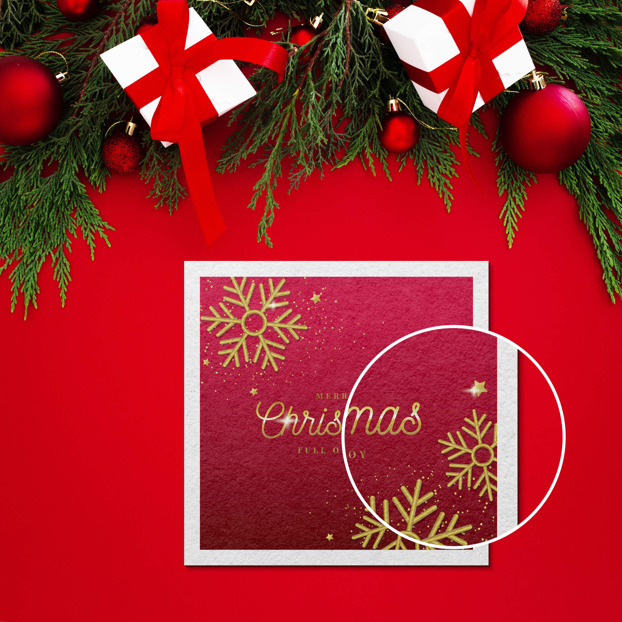 Close Up Of a Free Christmas Card Mockup PSD Template
