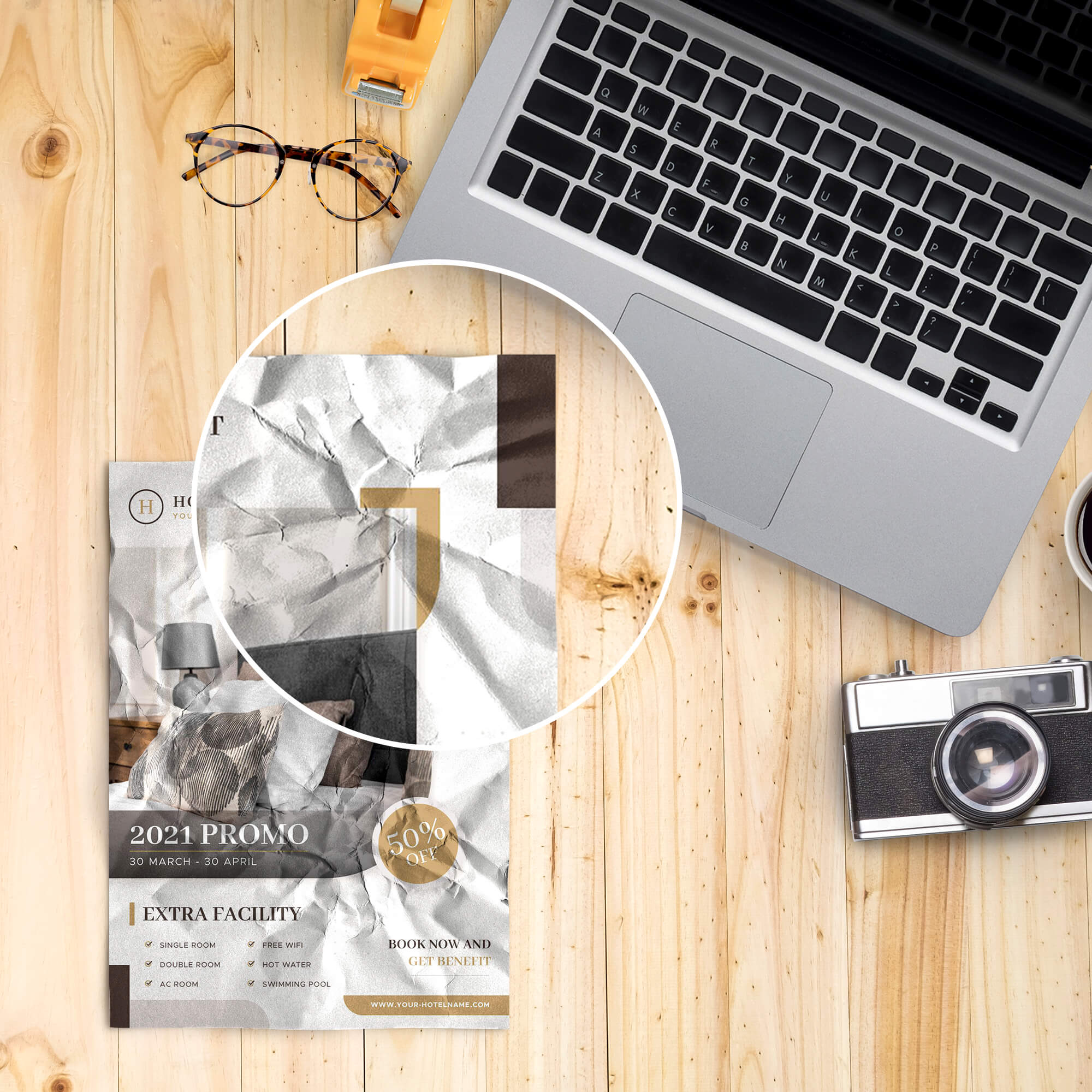Close Up Of a Free Crumpled Paper Mockup PSD Template