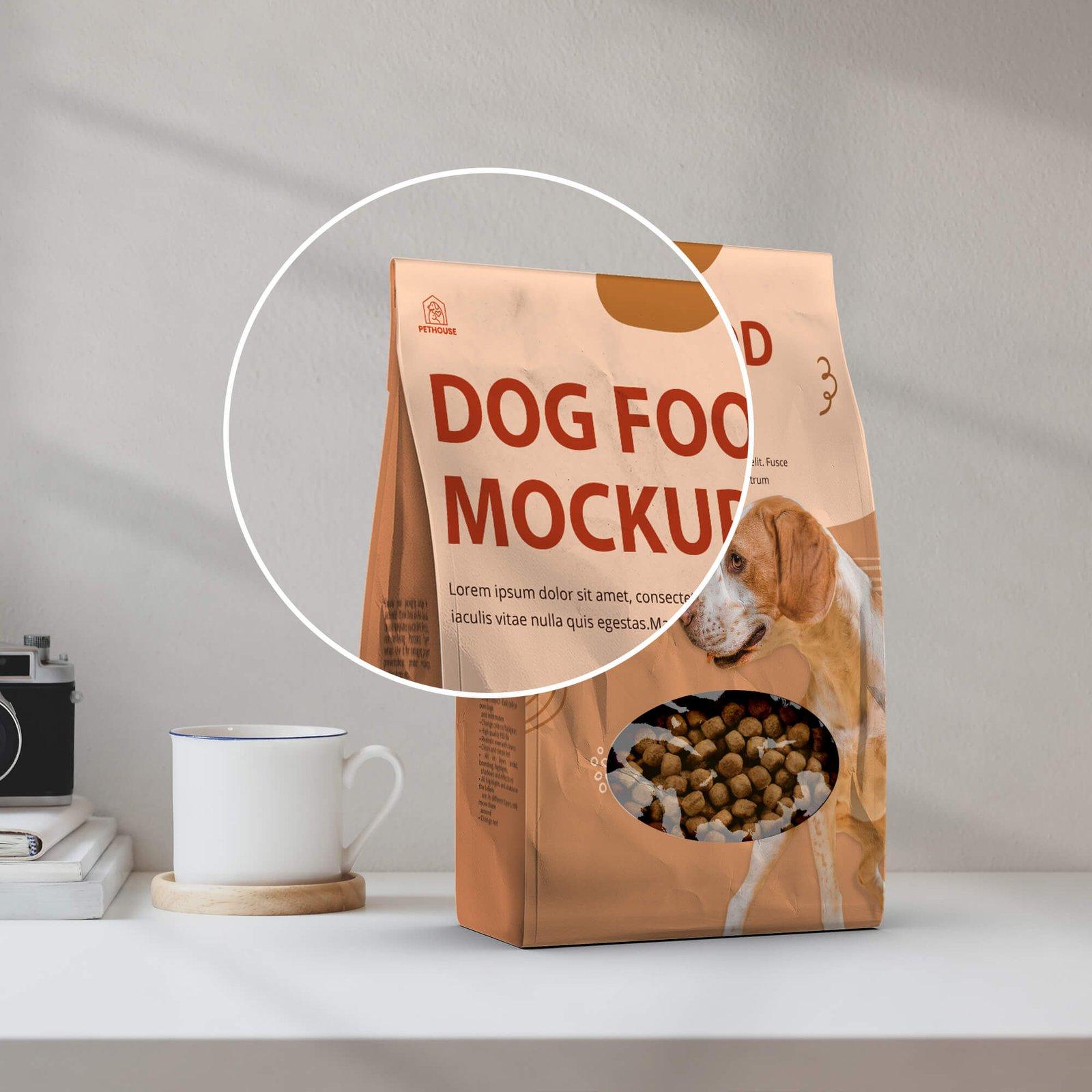 Close Up Of a Free Dog Food Mockup PSD Template