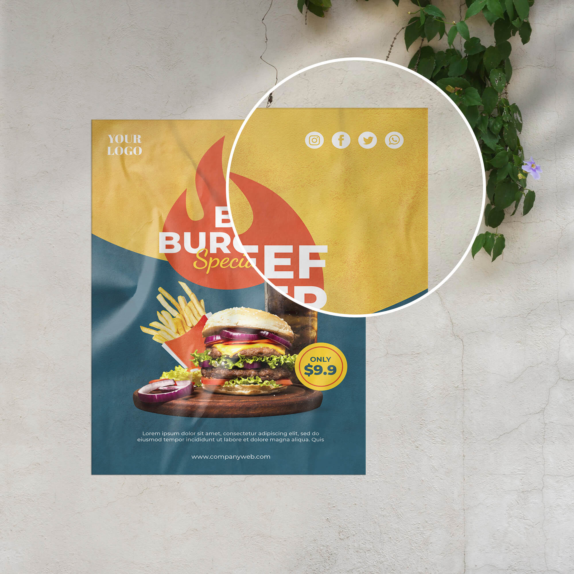 Close Up Of a Free Glued Paper Mockup PSD Template (1)