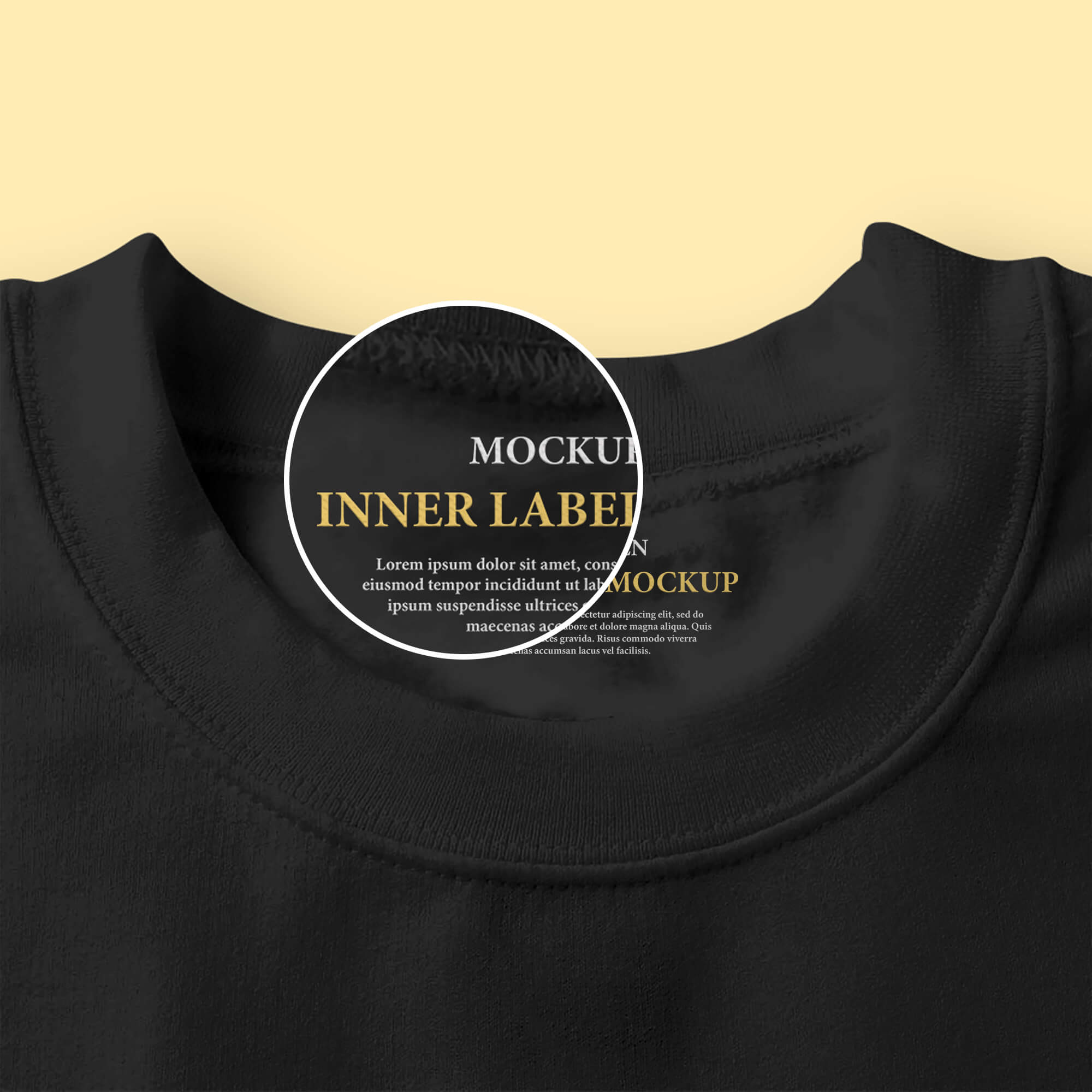 Close Up Of a Free Inner Label Mockup PSD Template
