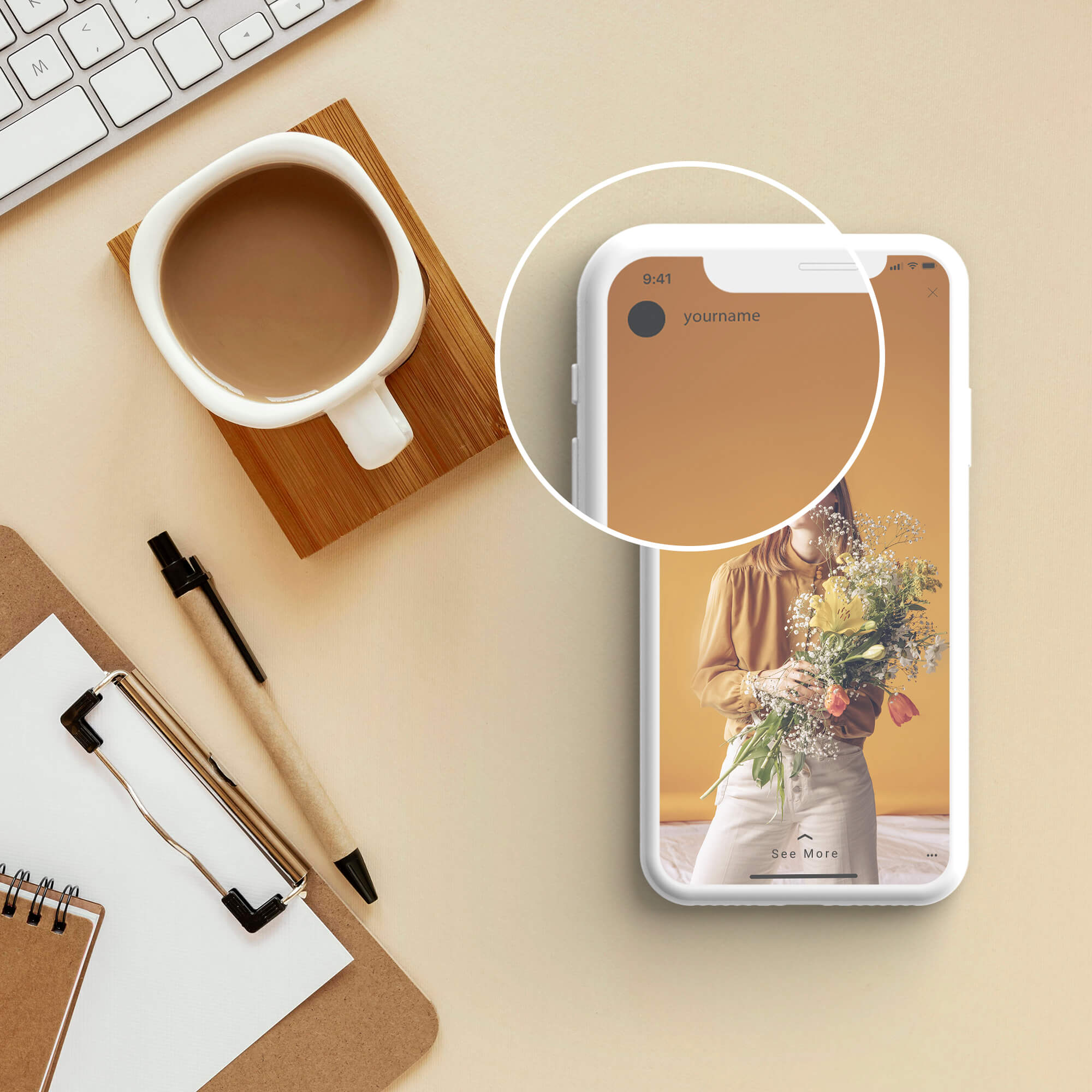 Close Up Of a Free Instagram Story Mockup PSD Template