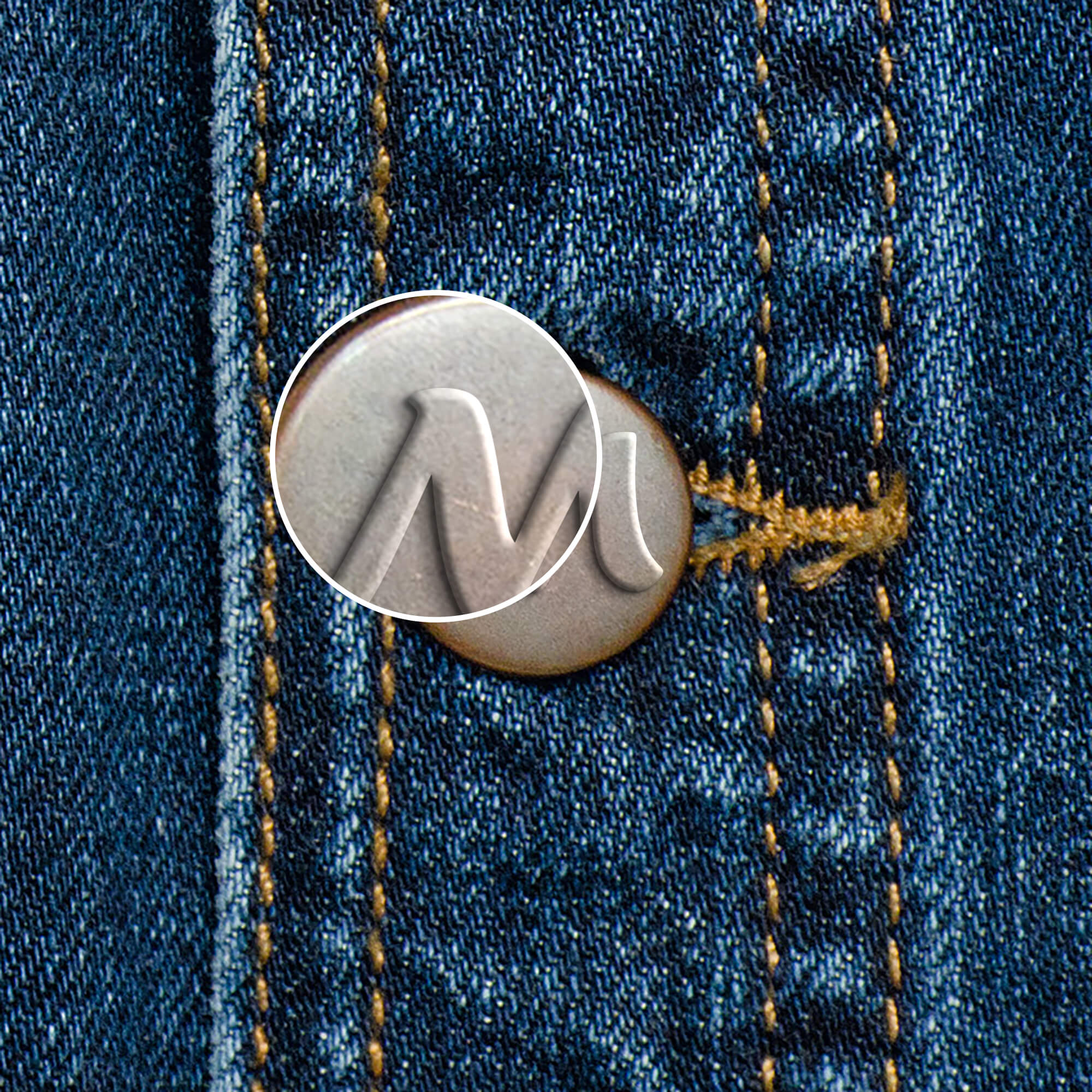 Close Up Of a Free Jeans Button Mockup PSD Template