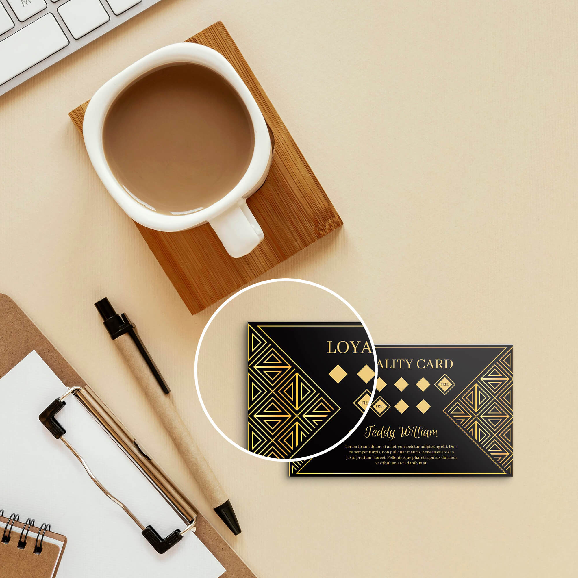 Close Up Of a Free Loyalty Card Mockup PSD Template