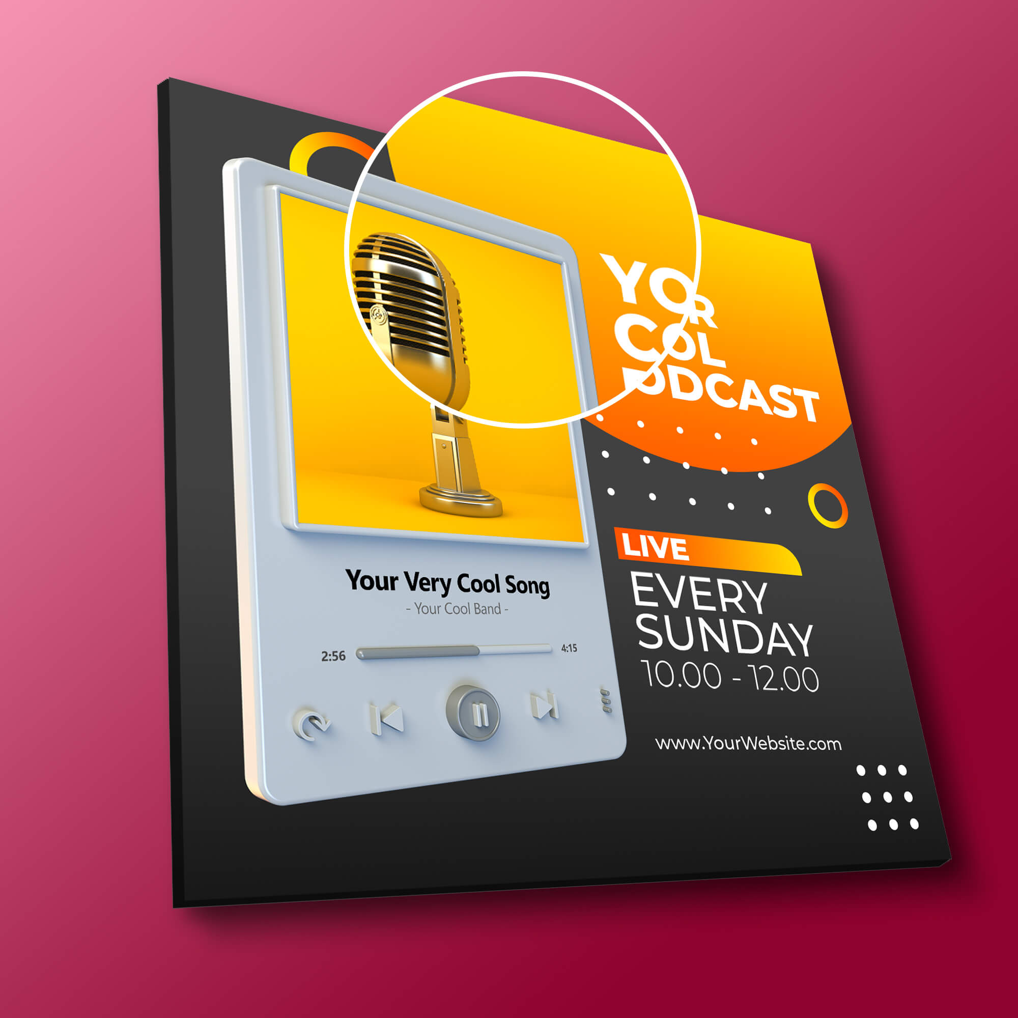 Close Up Of a Free Podcast Cover Art Mockup PSD Template