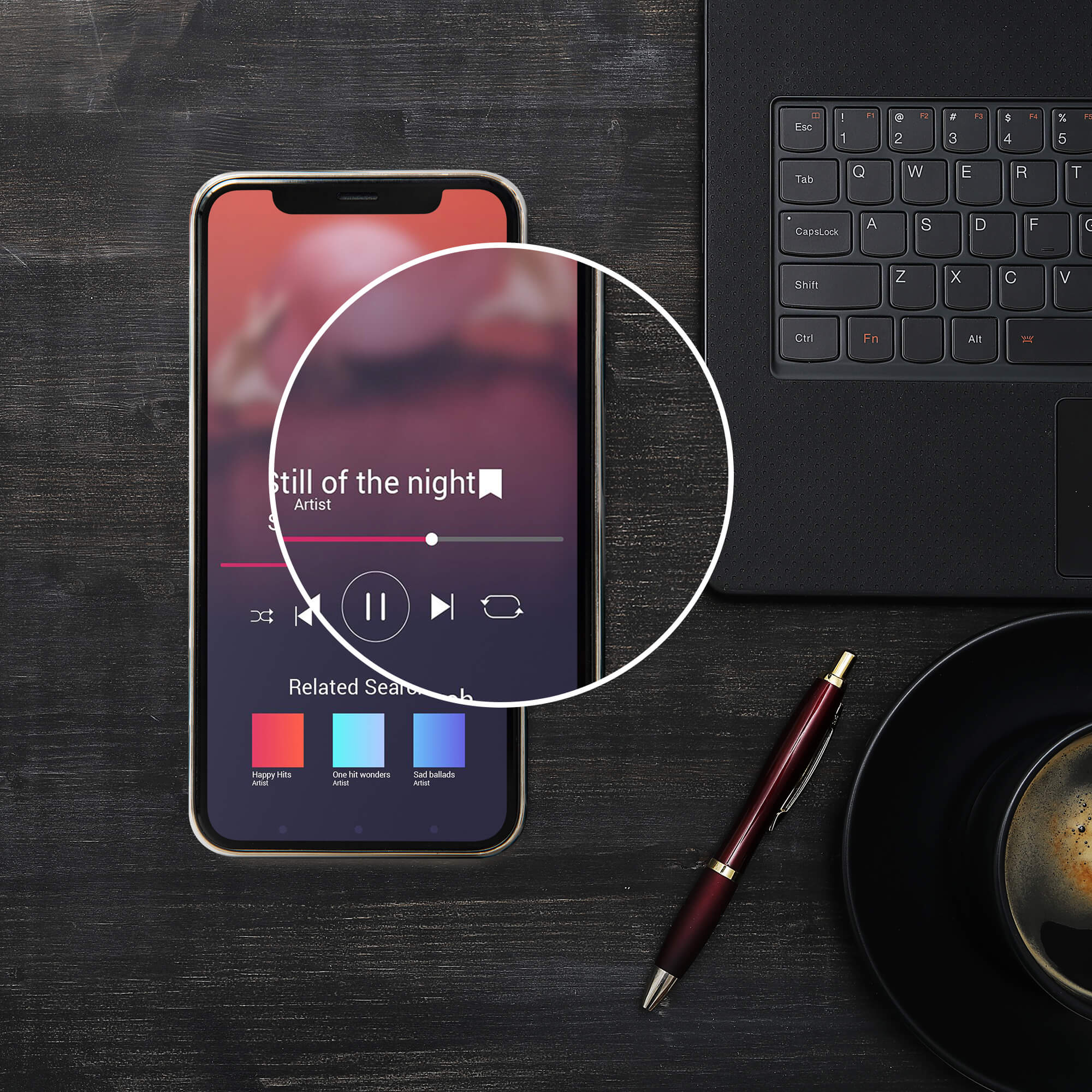Close Up Of a Free Podcast Cover Mockup PSD Template