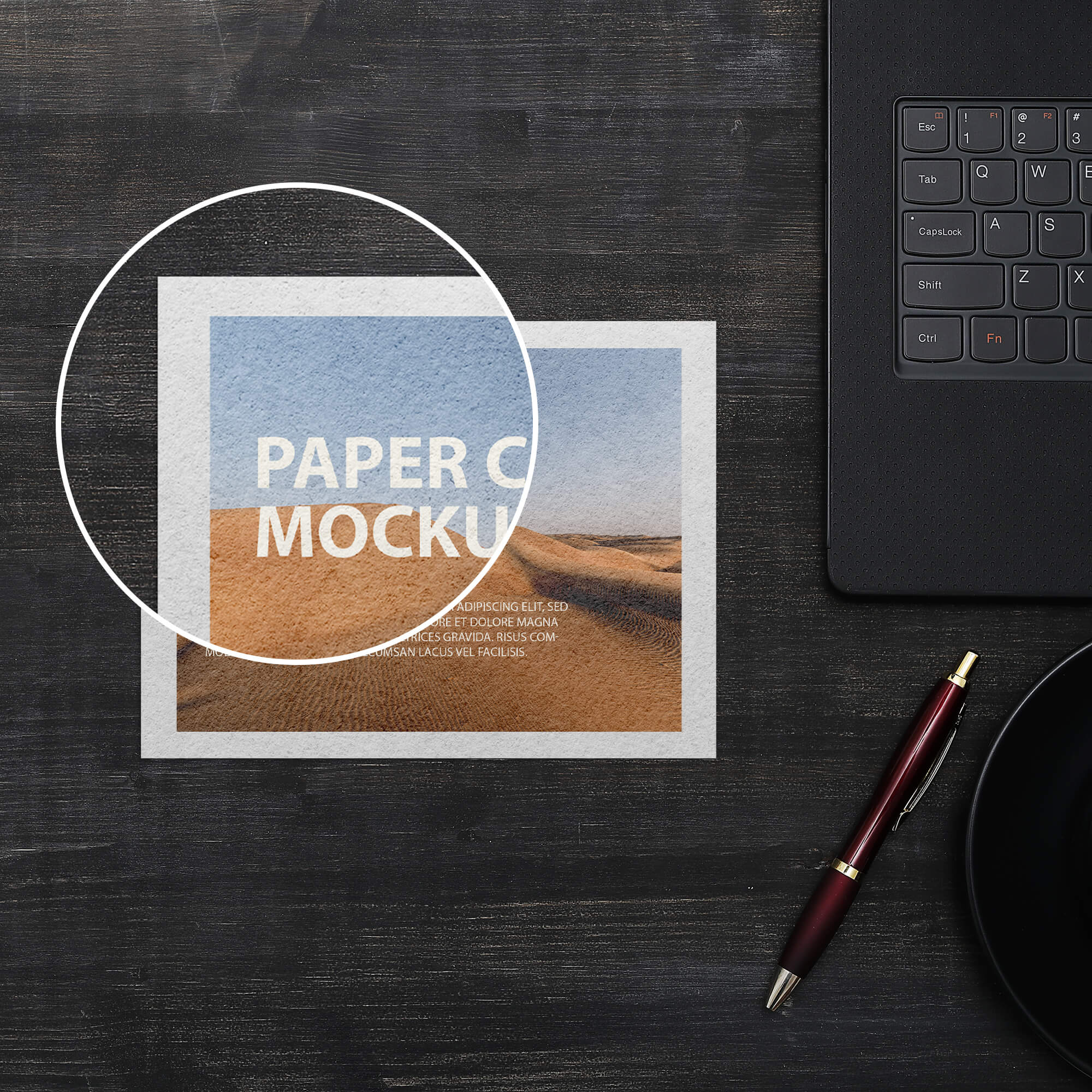 Close Up Of a Paper Card Mockup PSD Template