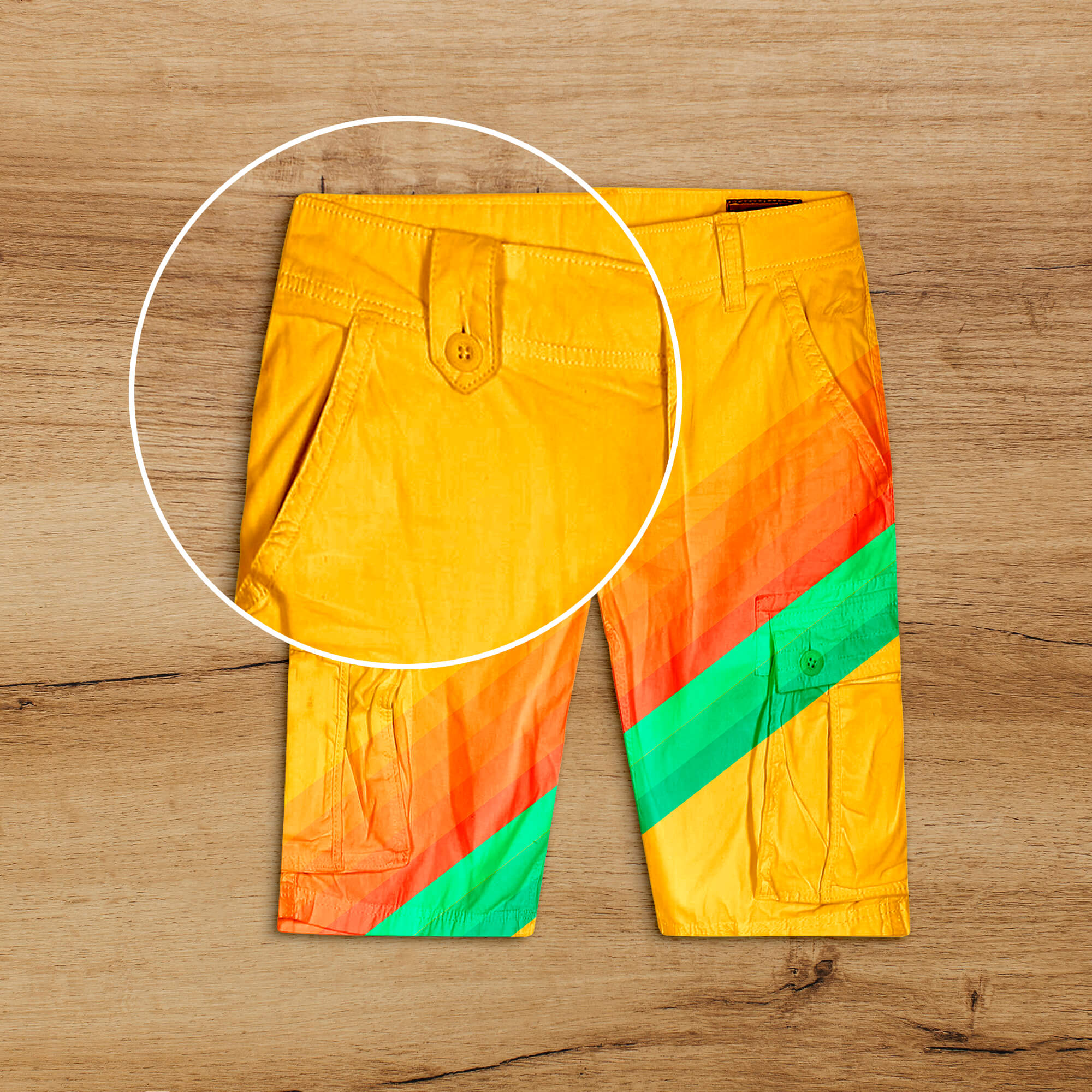 Close Up of a Free Cargo Shorts Mockup PSD Template
