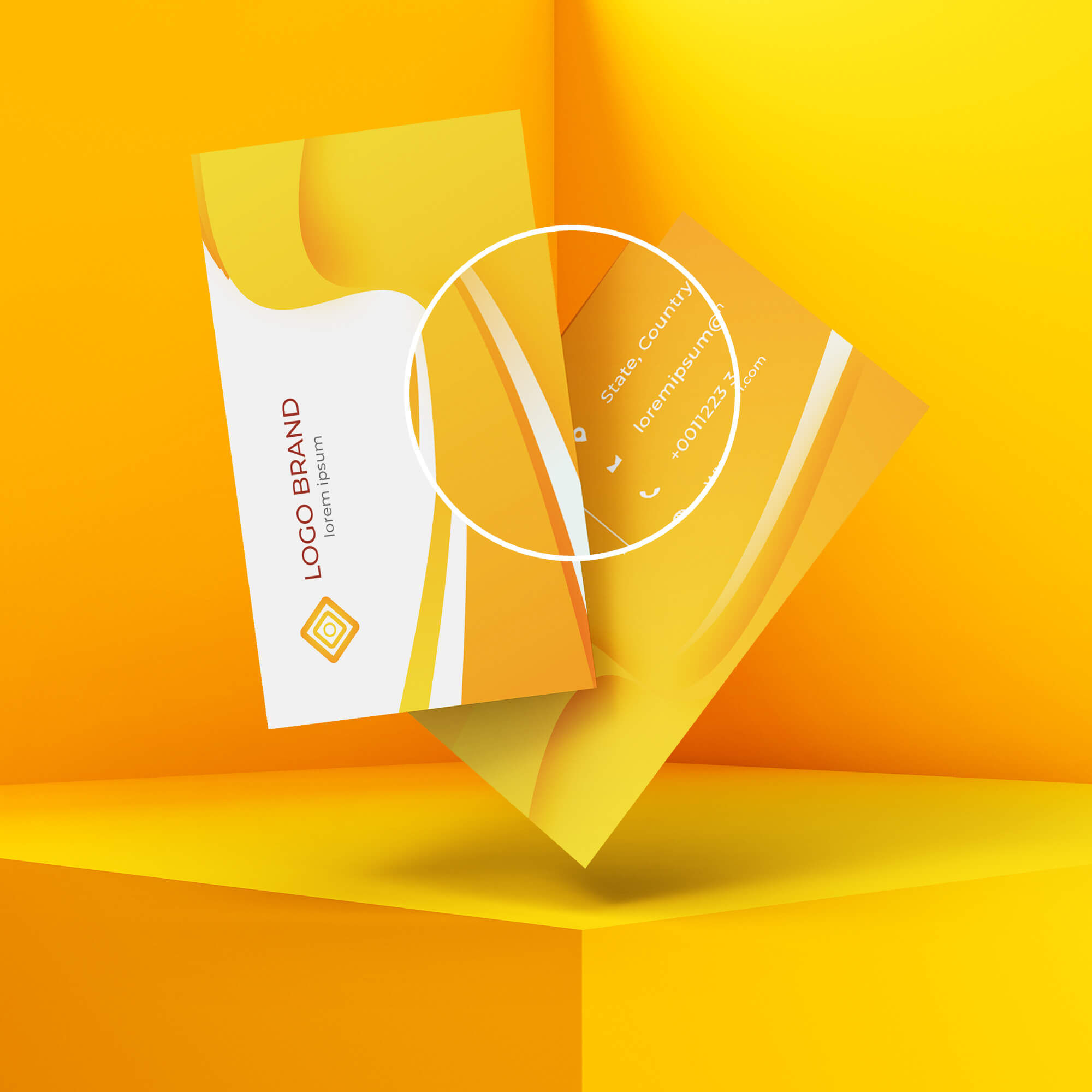 Close Up of a Free Floating Card Mockup PSD Template