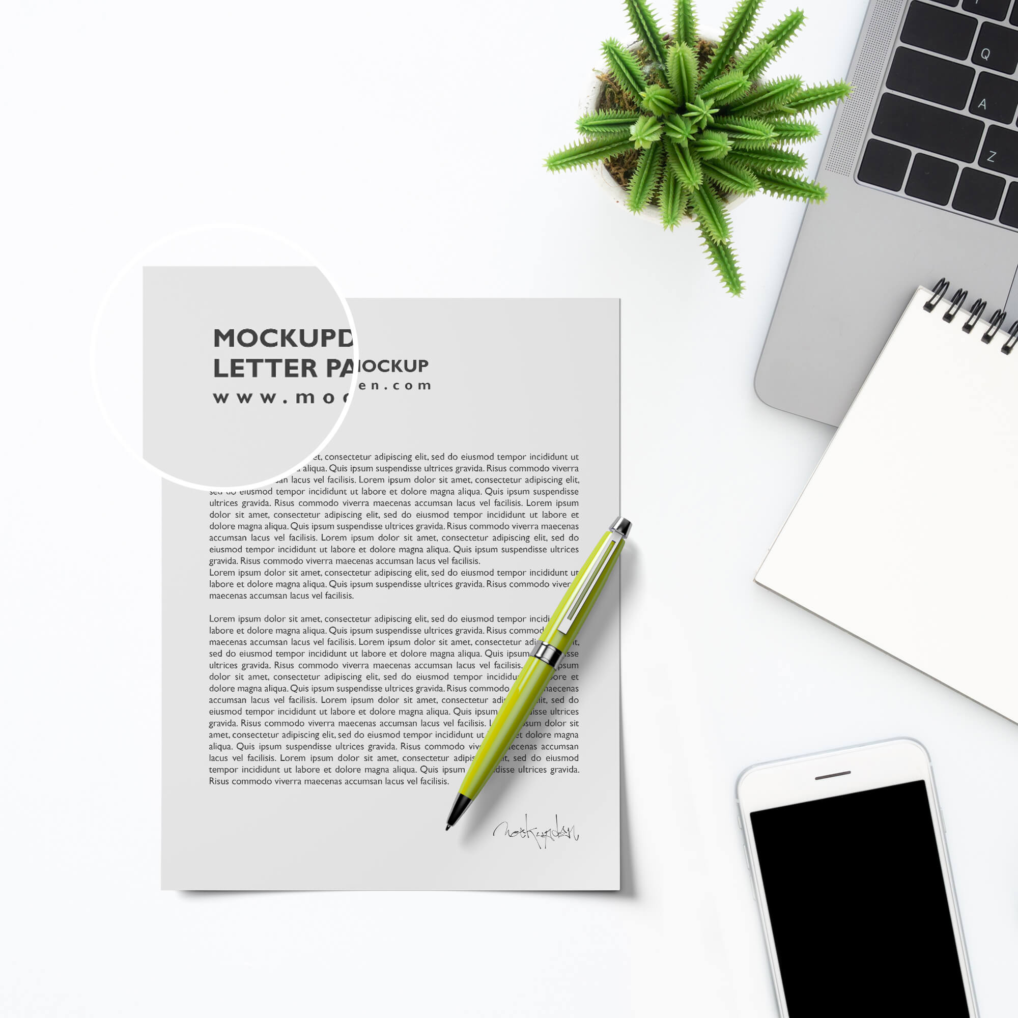Close Up of a Free Letter Paper Mockup PSD Template