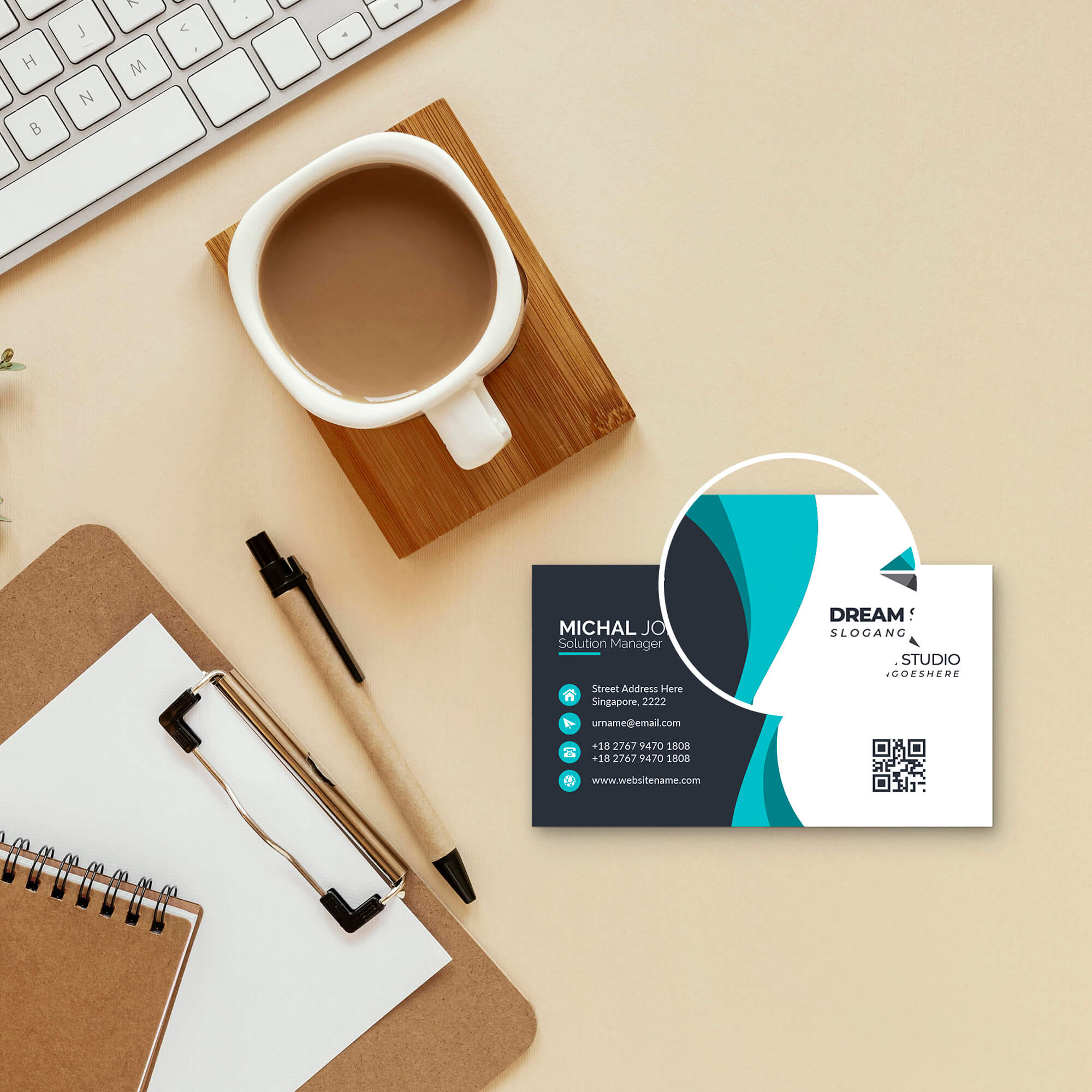 Close Up of a Free Personal Card Mockup PSD Template
