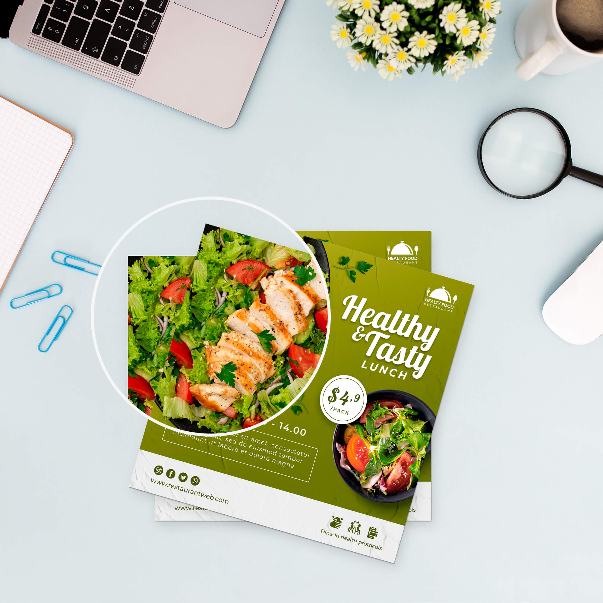 Close Up of a Free Square Paper Mockup PSD Template