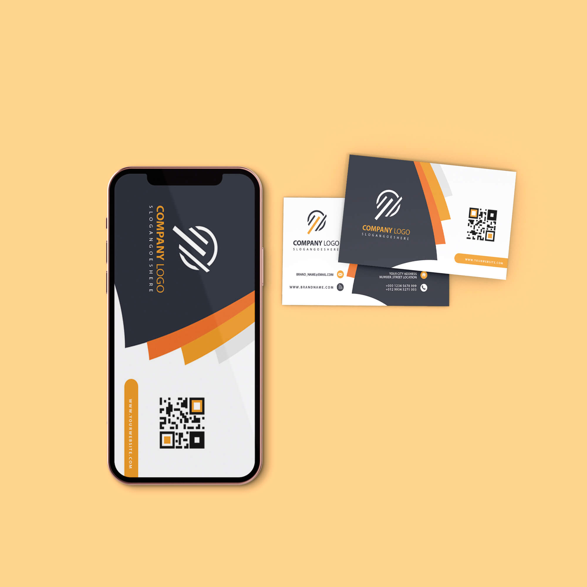 Design Free Card And Phone Mockup PSD Template