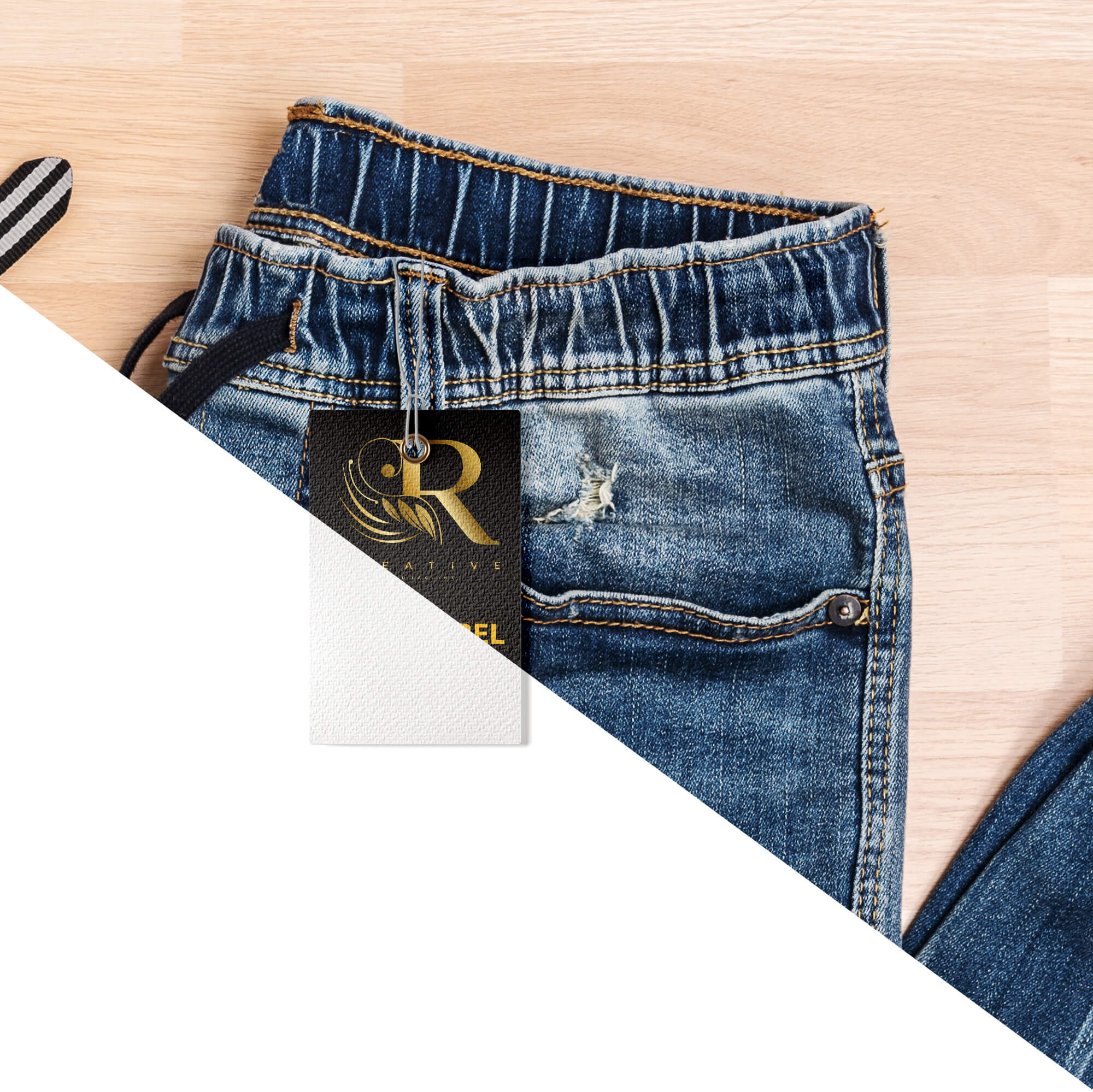 Editable Free Jeans Label Mockup PSD Template