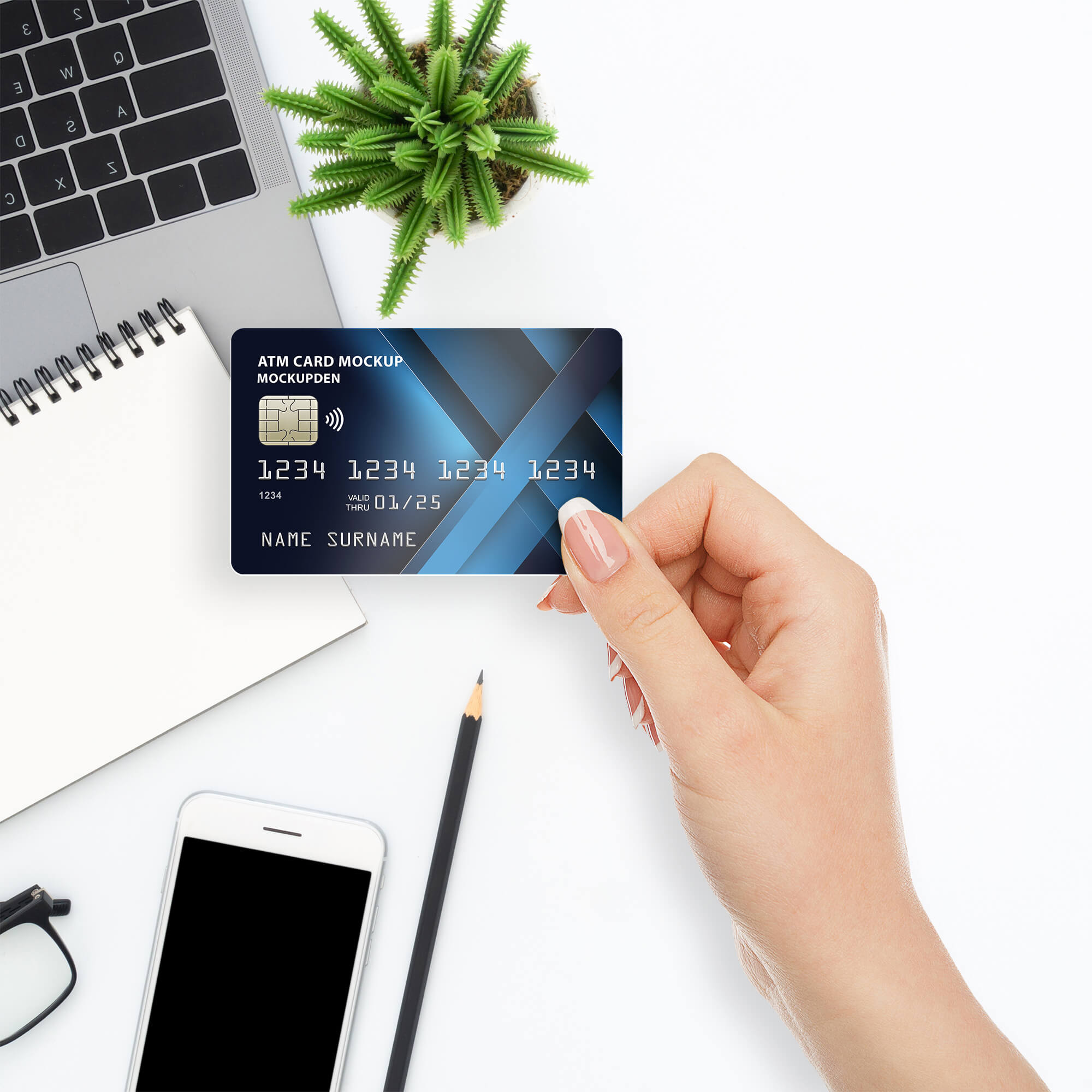Free Atm Card Mockup PSD Template
