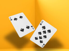 Free Falling Playing Cards Mockup PSD Template