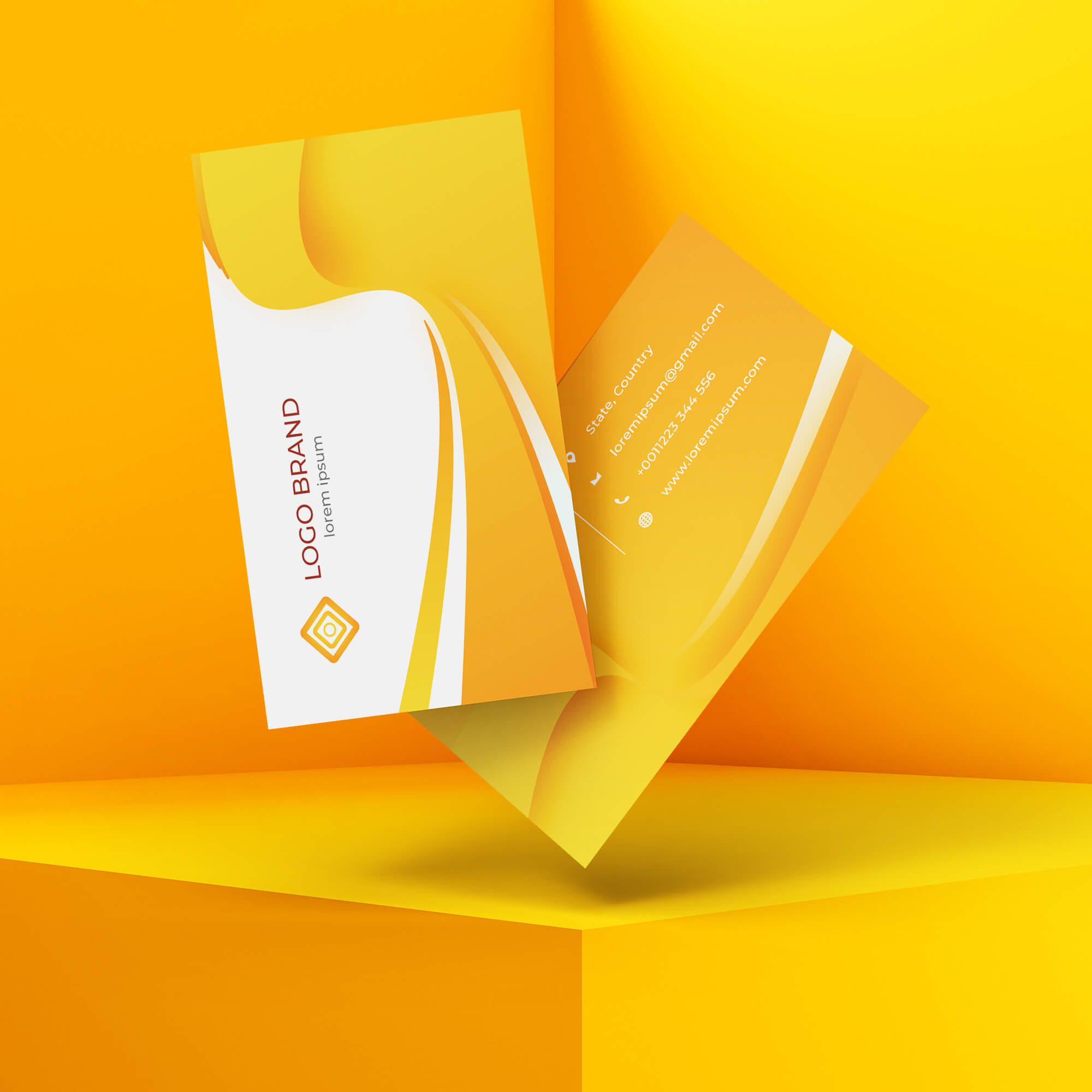 Free Floating Card Mockup PSD Template