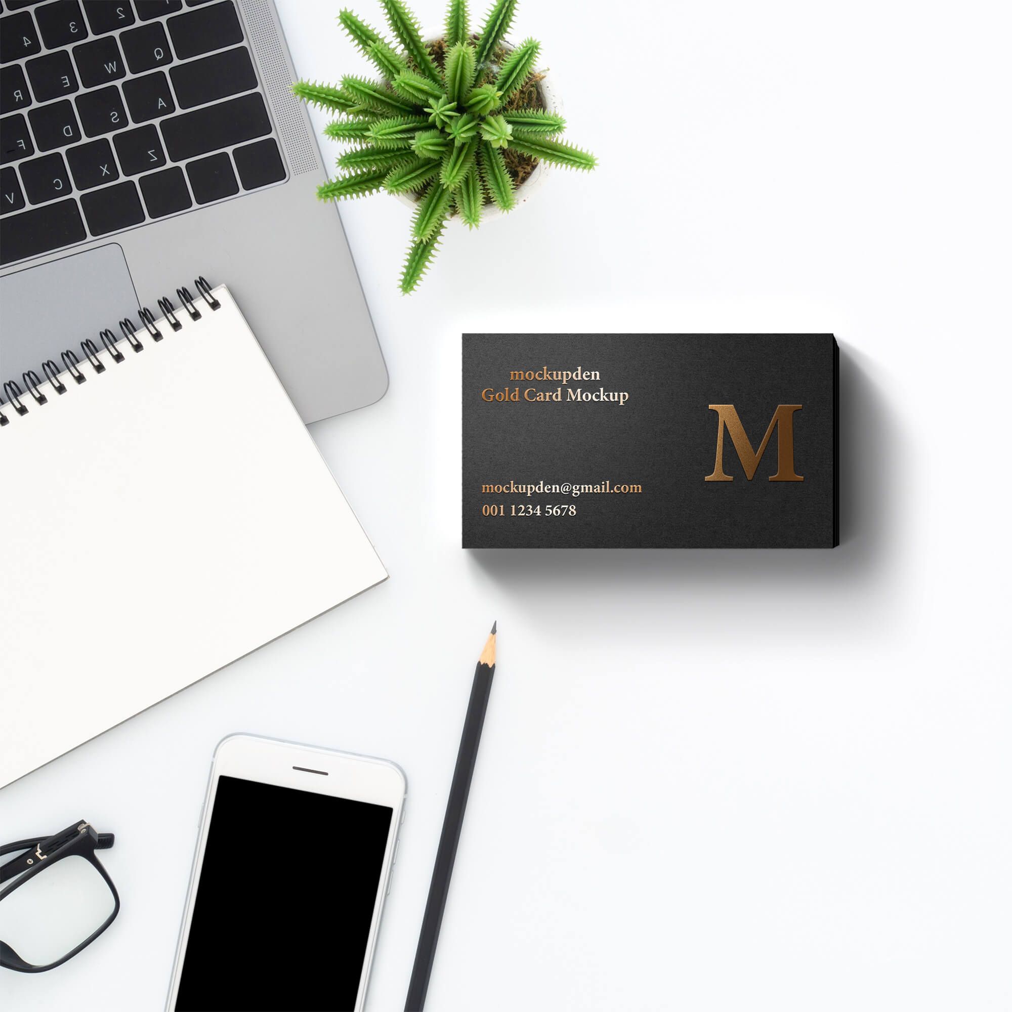 Free Gold Card Mockup PSD Template
