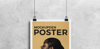 Free Hanging Paper Mockup PSD Template