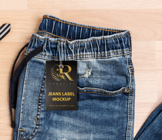 Free Jeans Label Mockup PSD Template