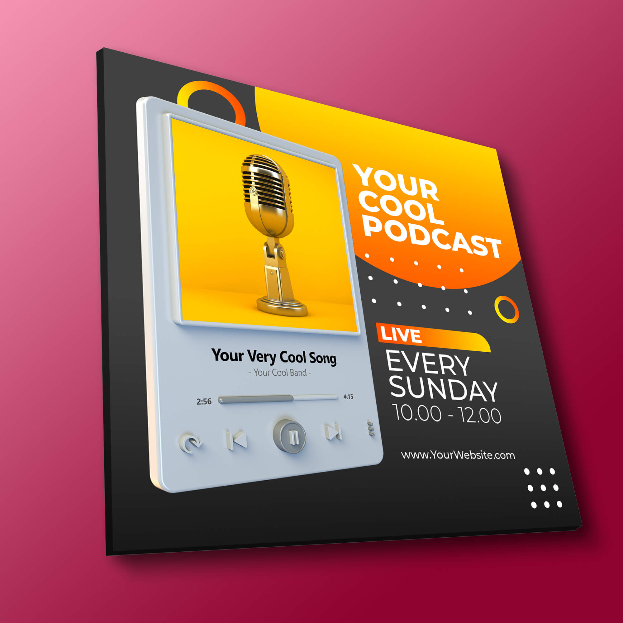 Free Podcast Cover Art Mockup PSD Template