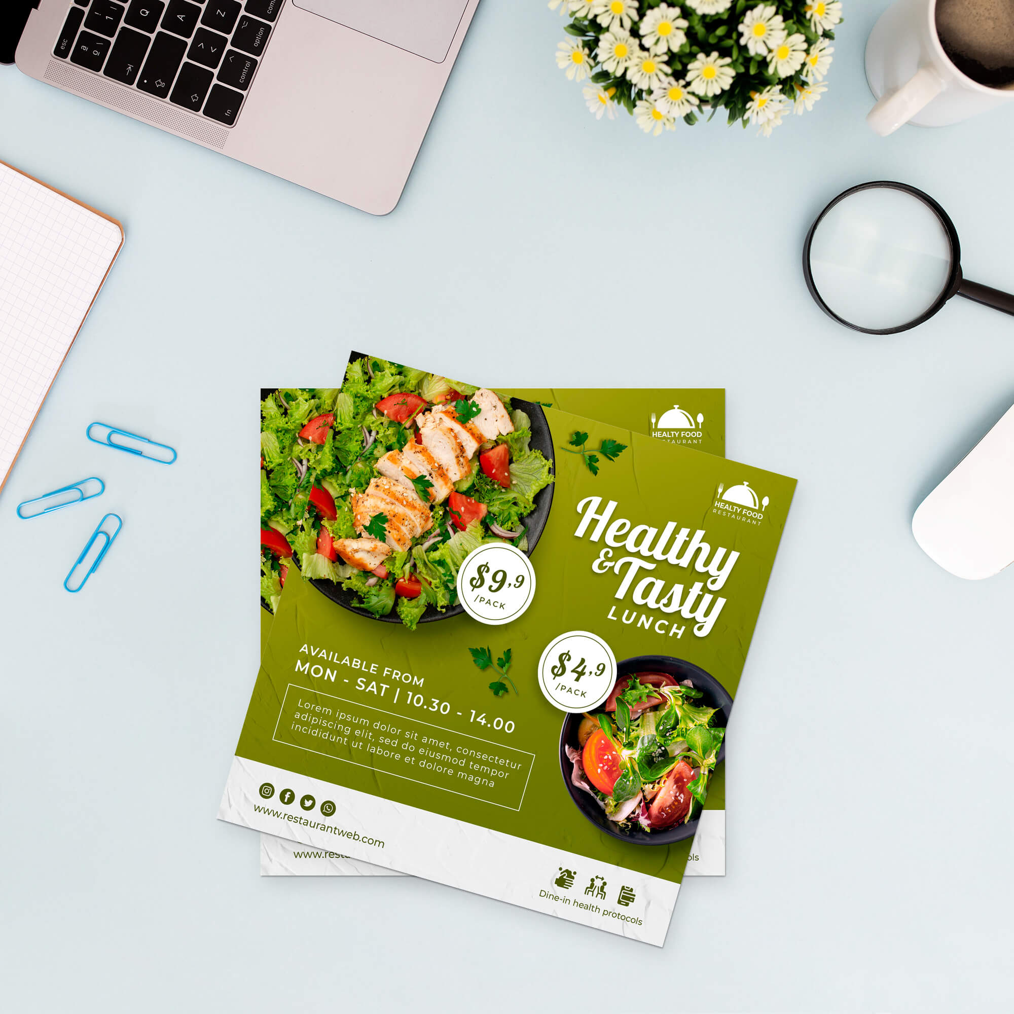Free Square Paper Mockup PSD Template