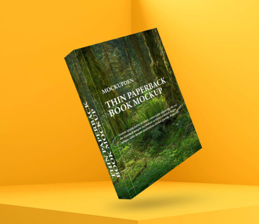 Free Thin Paperback Book Mockup PSD Template