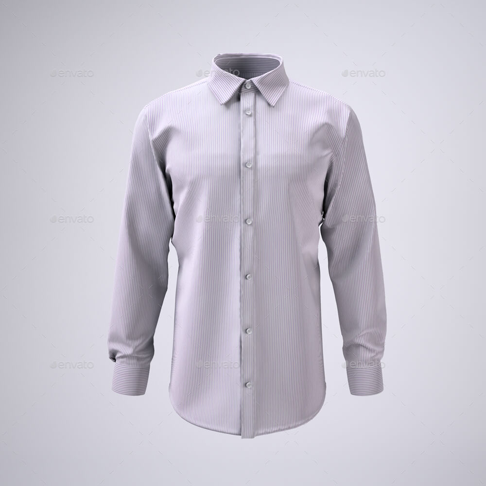 Men's Long Sleeve Dress Shirt Mock-Up