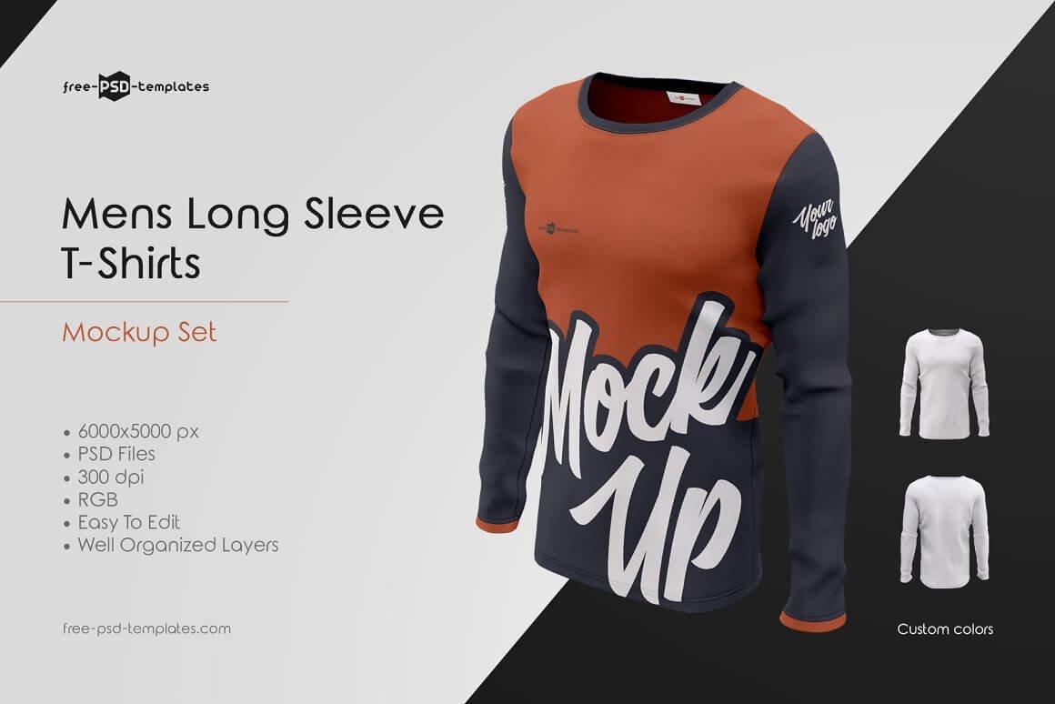 Mens Long Sleeve T-Shirts MockUp Set