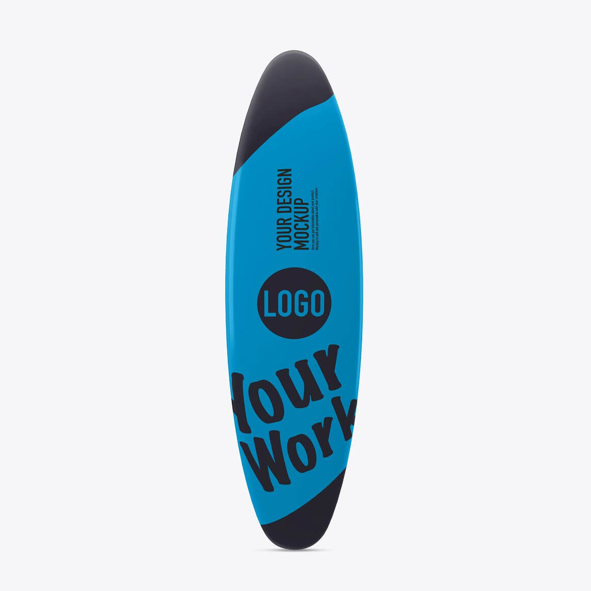 Mockup of a beach surfboard isolated