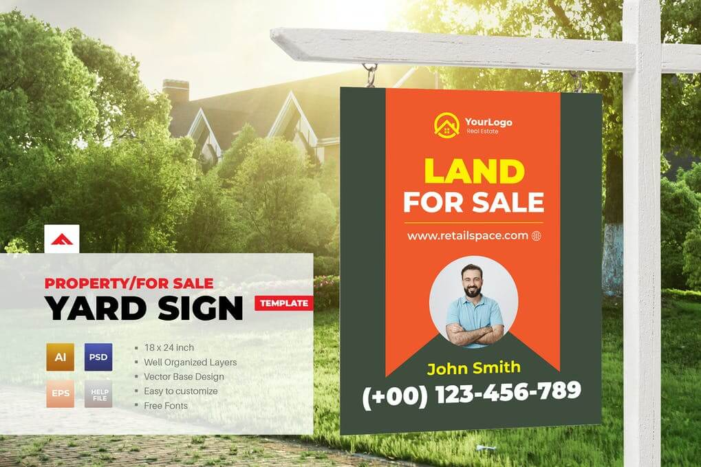 Property Sign Yard For Sale Template (3)