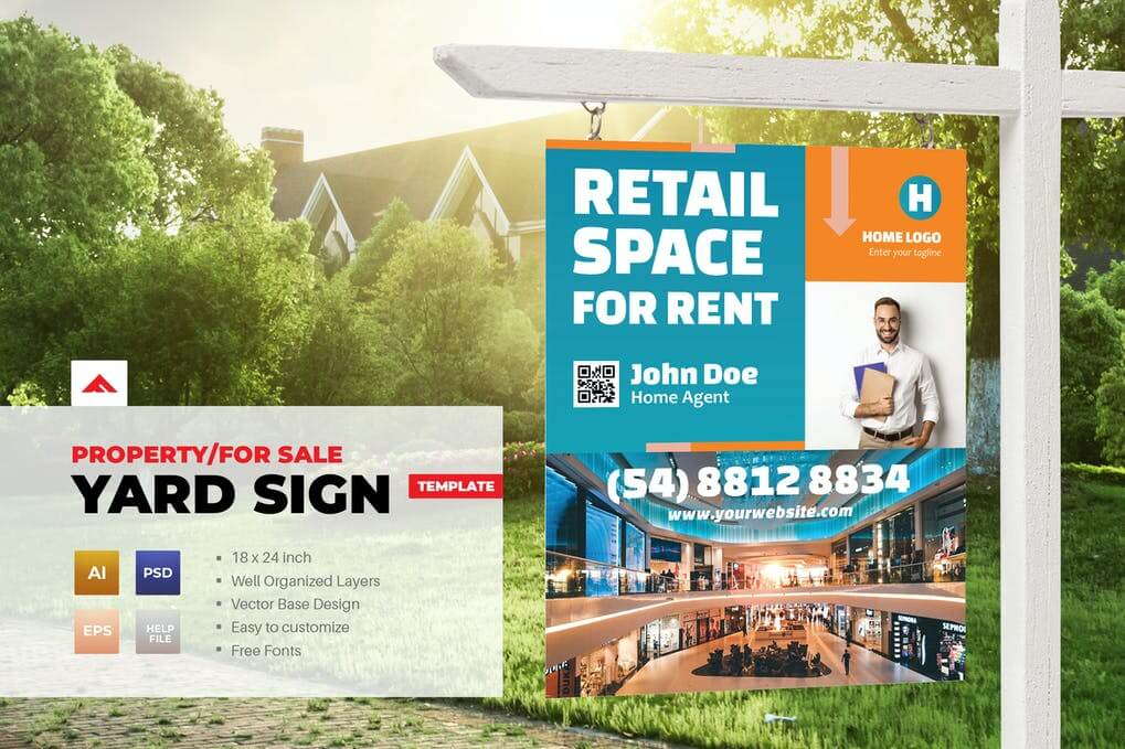 Property Sign Yard For Sale Template
