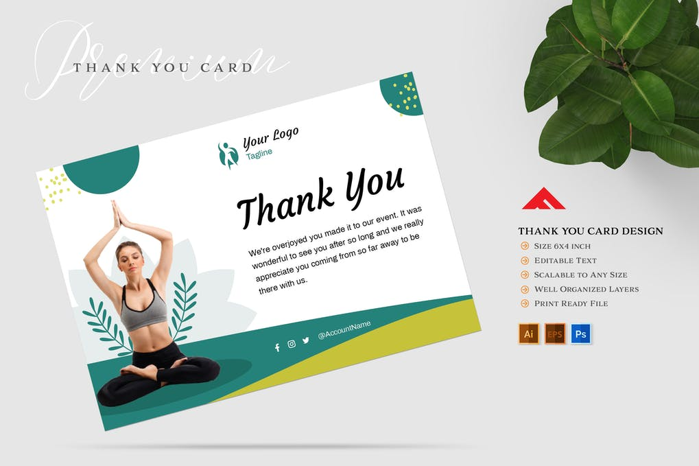 Thank You Card For Yoga Member